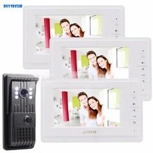 Big discount DIYSECUR 1 Camera 3 Monitor Aluminum Alloy Camera 7 inch LCD Display Video Door Phone Intercom Doorbell LED Night Vision