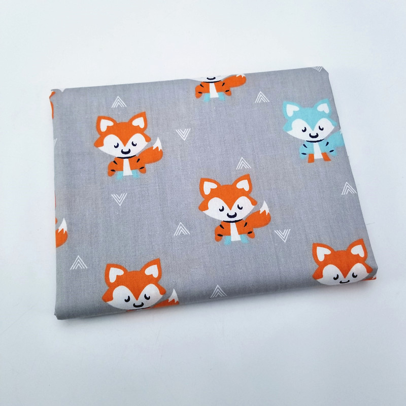 1PCS Animal Pattern Fox Twill Cotton Fabric By Half Meters For Patchwork Quilting Baby Bedding Blanket Sewing DIY Cloth Material