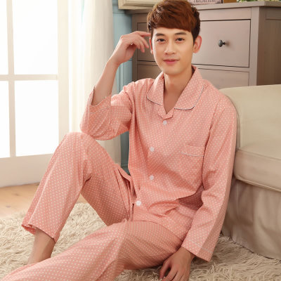 Spring Men's woven cotton pajamas 100% cotton short-sleeved cotton casual tracksuit pants suit to increase104