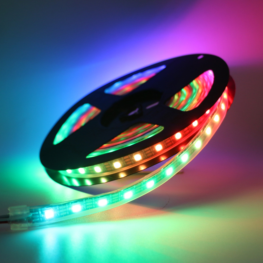 WS2811 WS2812 DC 5V/12V Waterproof RGB LED Strip light <font><b>5050</b></font> SMD Pixel Led Neon Built-in IC tape lamp 30/60/144 leds/m <font><b>WS2812B</b></font> image
