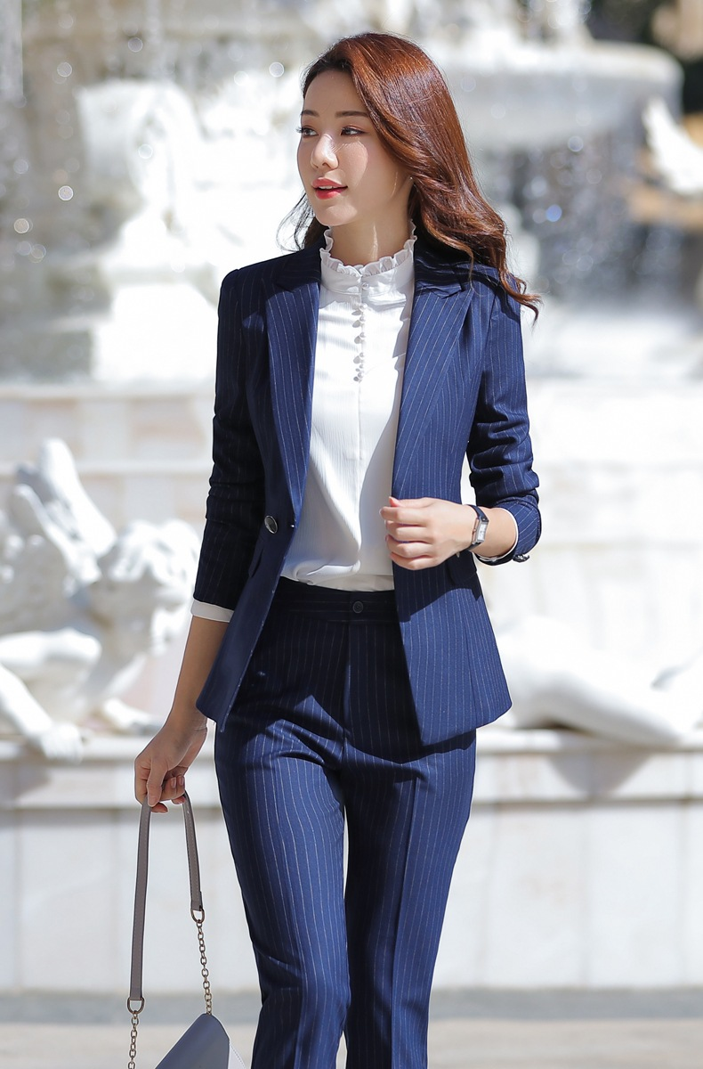 HTB1.EjEahD1gK0jSZFsq6zldVXan - Women Two Piece Outfits Elegant Stripe Full Sleeve Blazer+Skirt 2 Pieces Business Career Skirt Suits Office Clothes KY80869