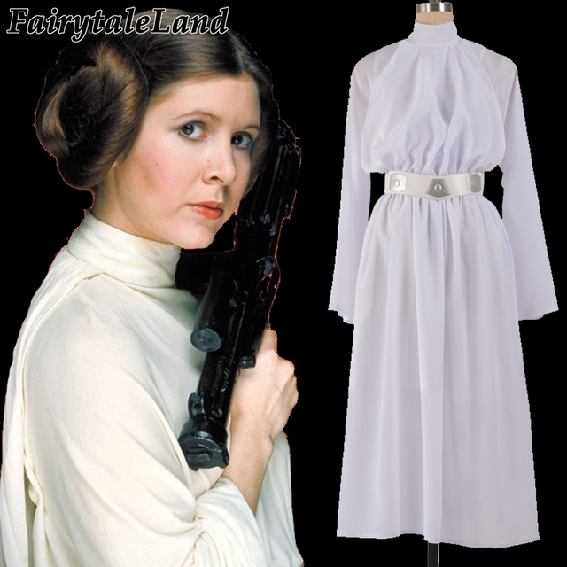 Star Wars Princess Leia Cosplay Costume White Dress Slave