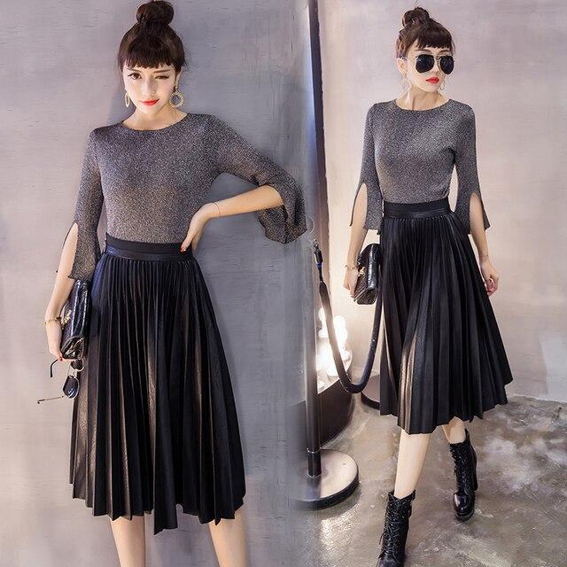 853a9b7bcd Pleated skirt leather girl fall and winter 2018 Korean fashion style side  zipper high waist black PU midi long bust skirts