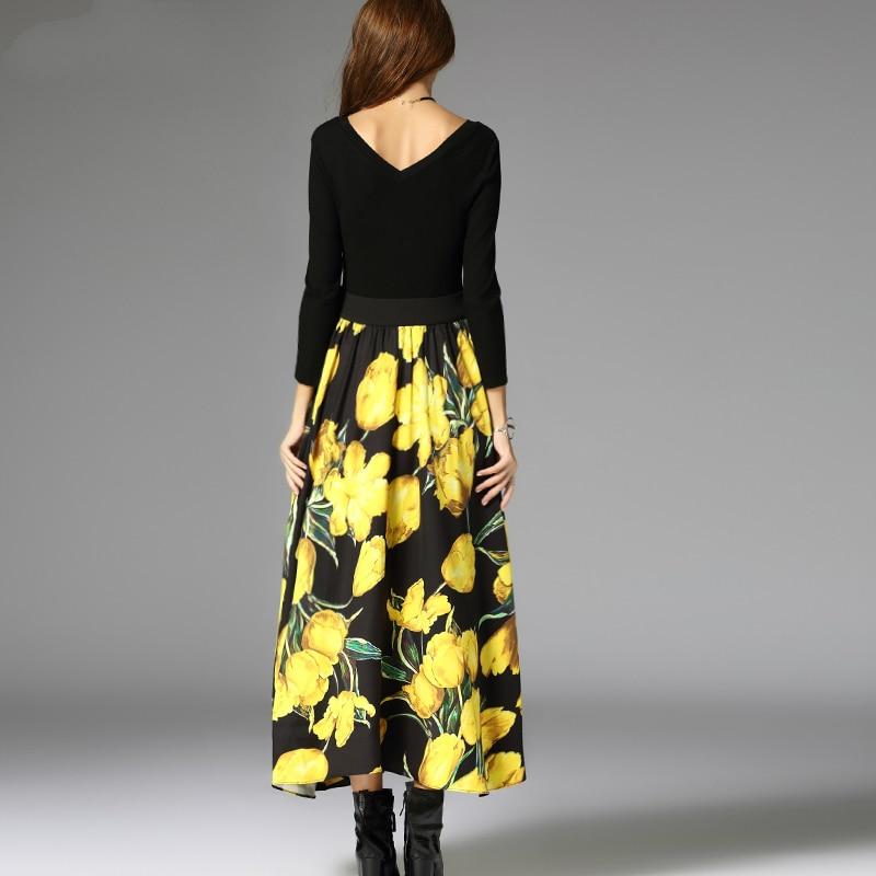 Femmes Mode Piste Jupes 2017 Jupe Mince A Mi Casual Nouvelle Été Printemps Taille Noir mollet Haute Dames ligne Flora Élégante Arc Imprimer Ivqw7wnCP