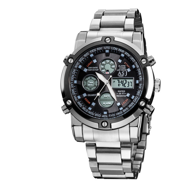 Watches Men Luxury Brand ASJ Male Clock Digital Quartz Watch Digital LED Watch Army Military Sports Watches relogio masculino