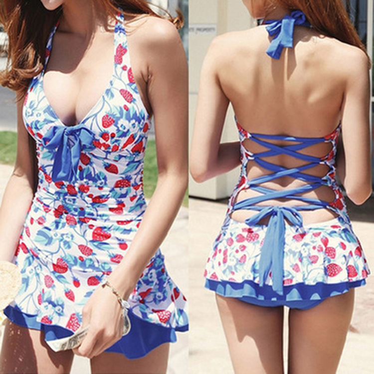 376e1174631f7 2019 One Piece Swimsuit Push Up Skirt Swimwear Bandeau Swimming Suit ...