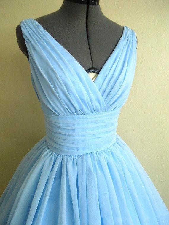 ... Elegant 50s Style Dress With Light Sky Blue Silk Chiffon Overlay V-Neck  Flattering For All Sizes Hottest. Our all dresses can be caustom made 8b863afd11a8