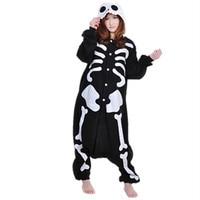 Winter New Sleepsuit Adult Cartoon Skeleton Skull Onesie Unisex Pajamas Cosplay Costumes Sleepwear Jumpsuit All In