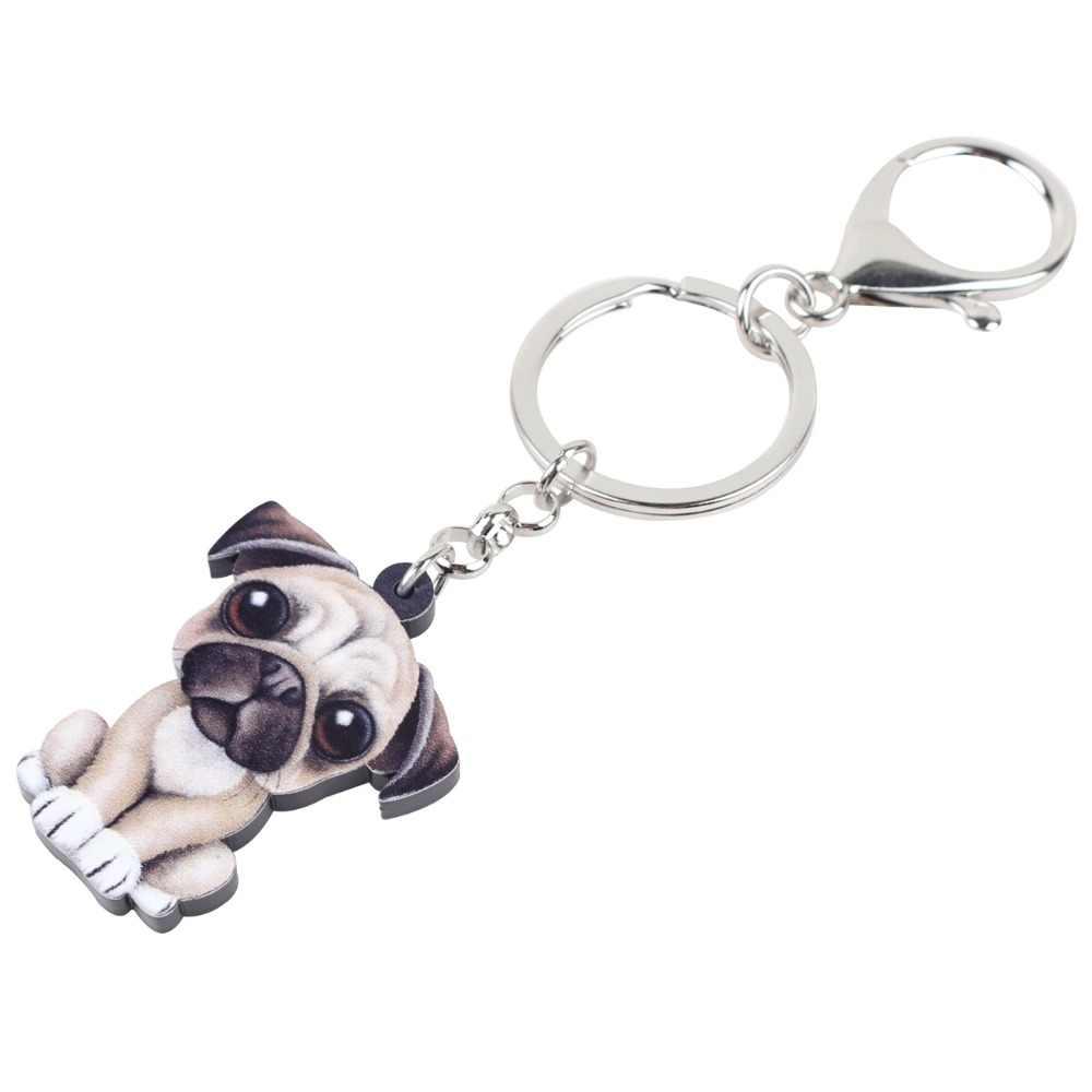 WEVENI Acrílico Anime Adorável Francês Bulldog Cão Pug Chaveiros Cadeias Titular Encantos Jóias Para As Mulheres Das Senhoras Da Menina Caçoa o Presente