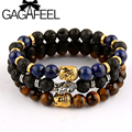 GAGAFEEL Famous Brand Silver Gold Color Buddha Bracelets Bangles for Women Men Natural Stone Jewelry Female Male DIY Making