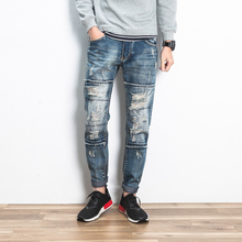 Мужчины высокого качества хлопка одежды дизайнер брюки разрушенные тонкий джинсовой ткани прямой велосипедов узкие брюки мужские рваные джинсы