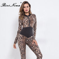 RICININA Deep V Neck Sexy Bandage Rompers Women Jumpsuits Autumn Long Sleeve Empire Snake Skin Patchwork Casual Rompers