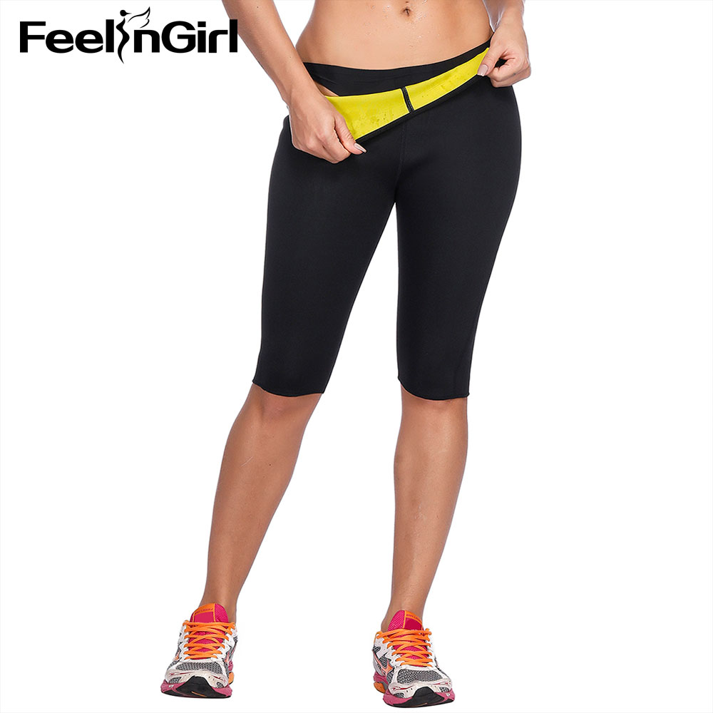 FeelinGirl Shapers Neoprene Body Shaper Fitness Weight Loss Control Panties Sweat Sauna Workout Fat Burning Pants-A image