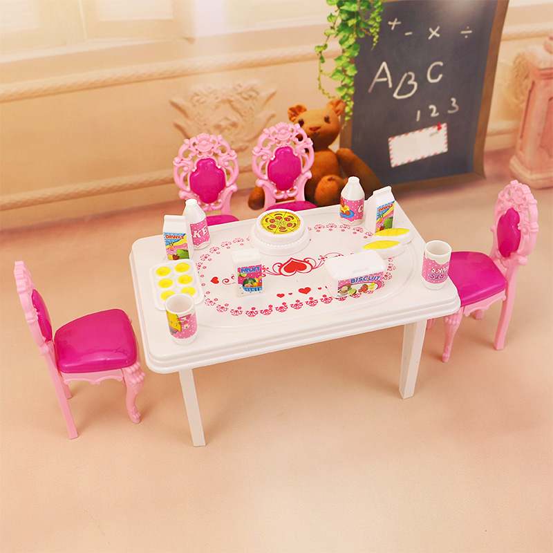Jimusuhutu Dinner Table Tableware for Barbie Kelly Doll House Furniture 17pcs Accessories цена