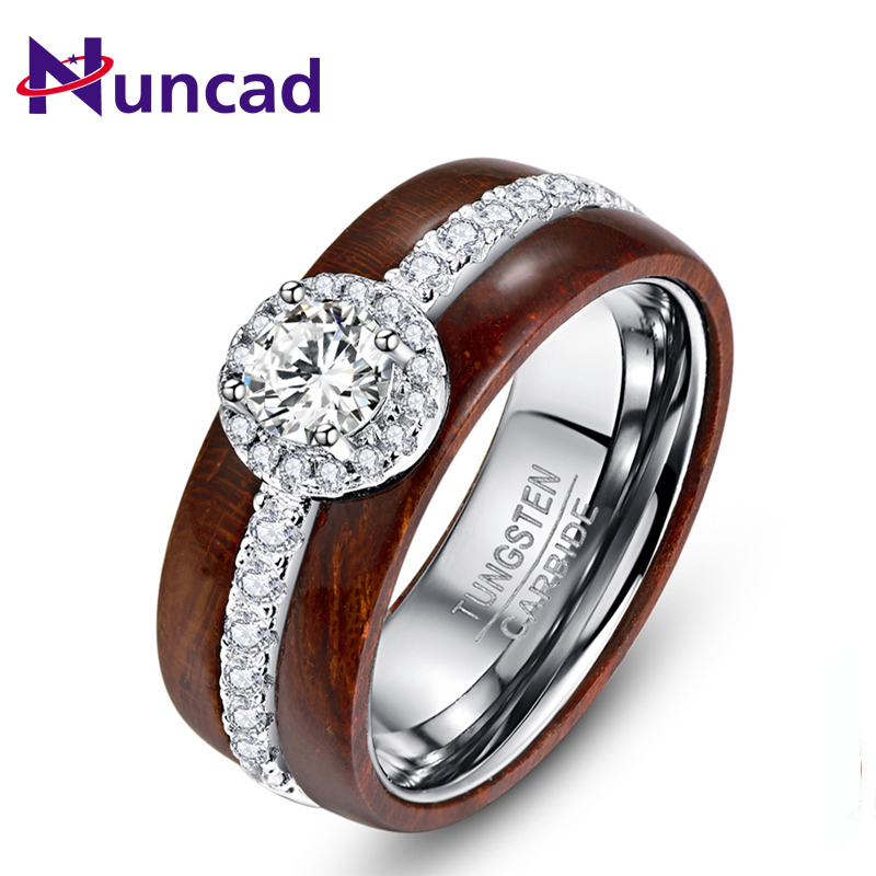 High Polish Real Koa Wood Ring With Exquisite Silver Inlaid Zircon 100% Tungsten Carbide Ring For Men Women Wedding Jewelry Gift stylish zircon inlaid hollow ring for women