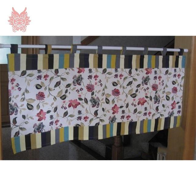 Pastoralen stil streifen floral 100% baumwolle leinwand half vorhang ...