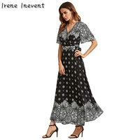 Irene Inevent Summer Navy Blue Women Boho Print Beach Long Maxi Woman Dress 2017 Bohemian Vintage