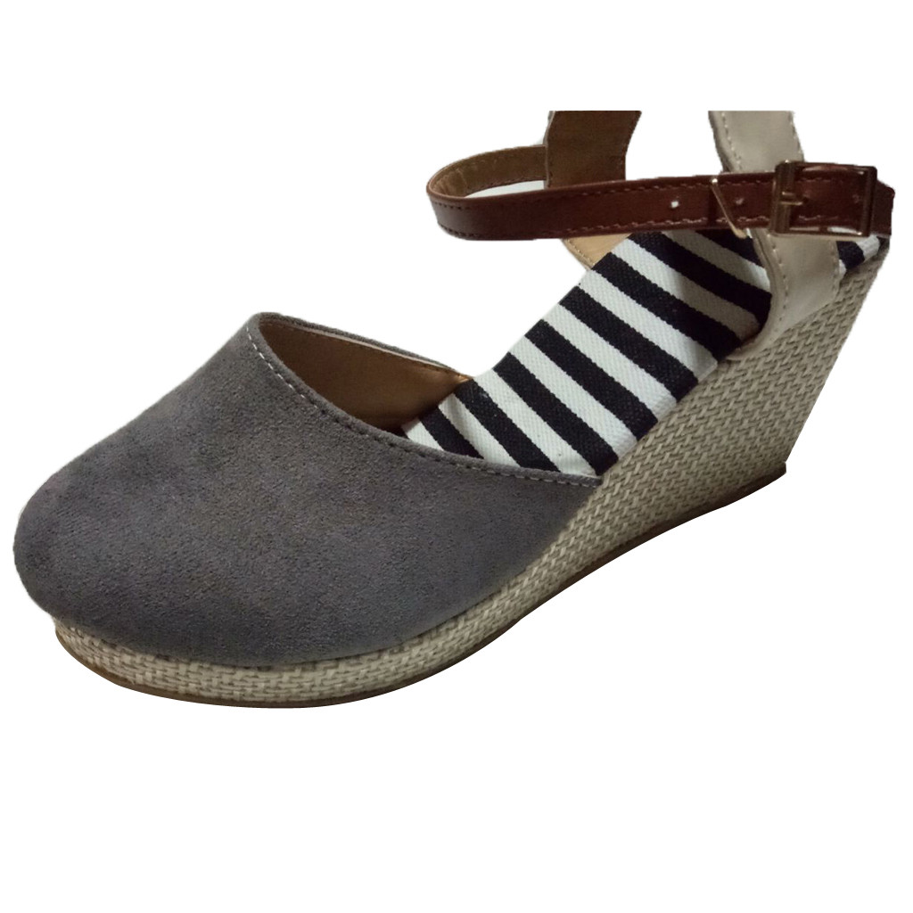 Sandals Ethnic Wedge-Shoes Mid-Heel Ankle-Strap Mujer Zapatos Wholesale