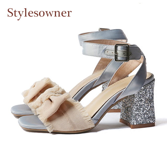 96b5b8334d5 Stylesowner sweet butterfly knot fairy sandals bling bling square high heel  open toe bowtie satin lady shoes ankle strap sandals