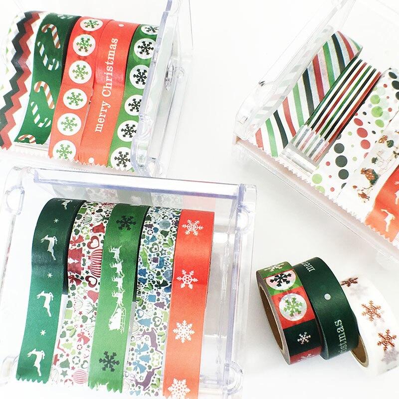 20 PCS 10M Kawaii Merry Christmas Deer/Snowflake/Dot/Stripe/ Washi Paper Masking Tapes Festival fita adesiva decorada papeleria merry christmas deer snowflake window removable wall stickers
