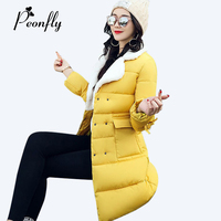 PEONFLY 2017 Lambswool Turn Down Neck Winter Jacket Women Parkas Thick Warm Long Sleeve Cotton Padded