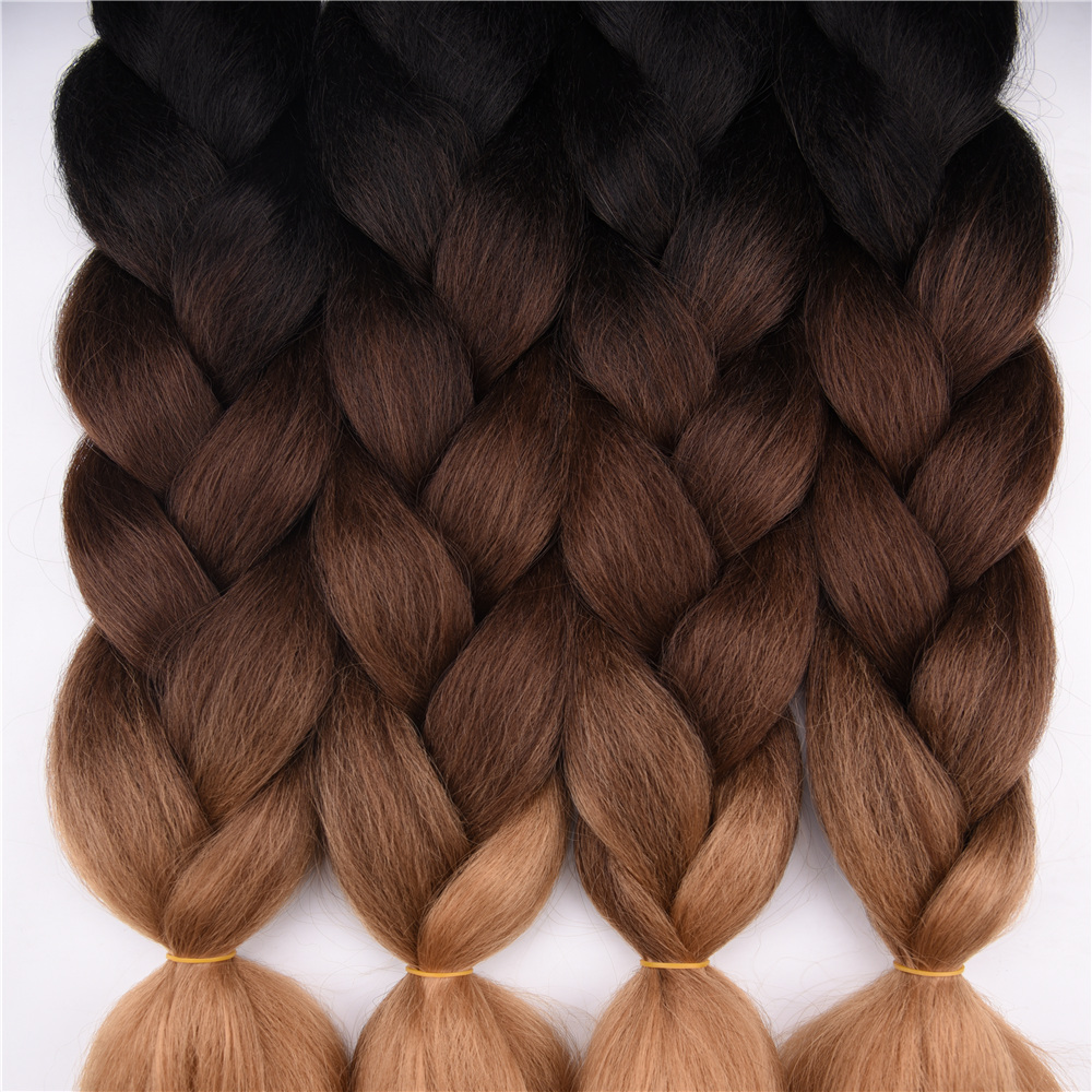 Ombre Synthetic Braiding Hair Sallyhair 24inch 3 Tone Colored Crochet Jumbo Braids High Temperature Fiber Bulk Hair Extensions