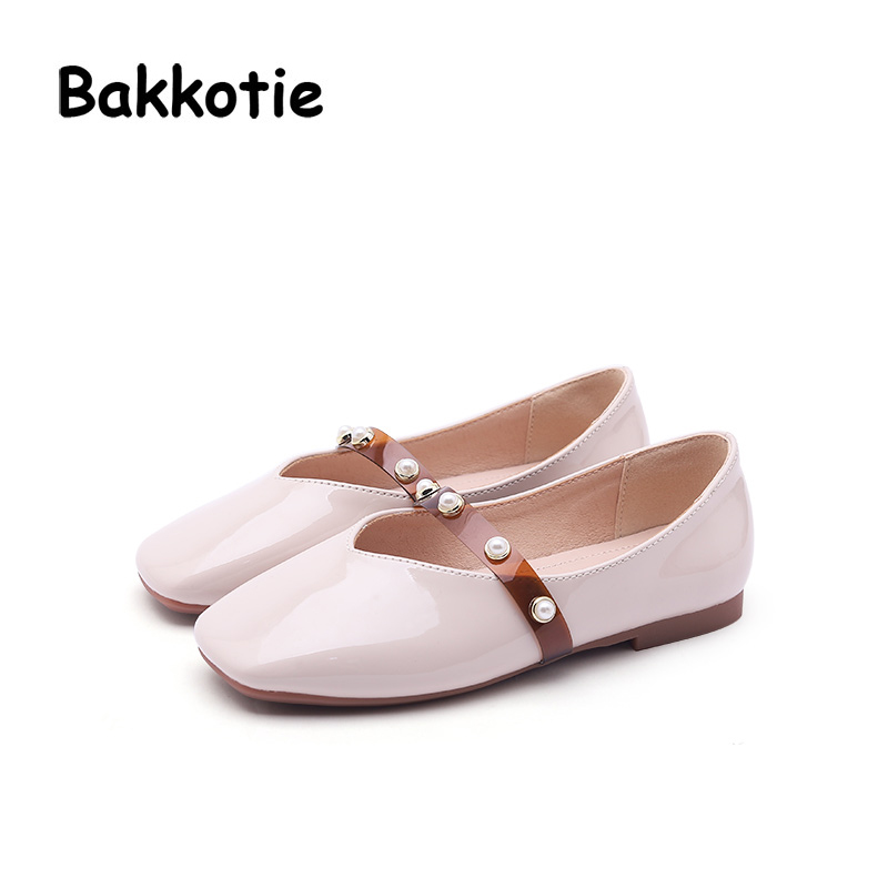 Bakkotie 2018 Spring New Fashion Baby Girl Pu Leather Shoe Children Pearl Princess Flat Kid Cute Brand Sweet Beige Mary Jane