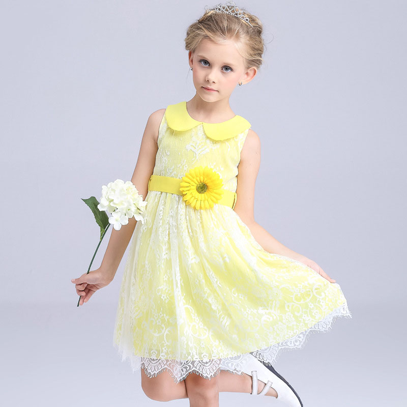 Lace Flower Girls Party Dresses Yellow Elegant Princess