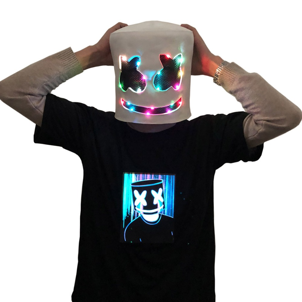 DJ Marshmello Mask Concert Props Future Bass Marshmello Music Fans Bars LED Masks Headdress Accessories Cosplay Costume