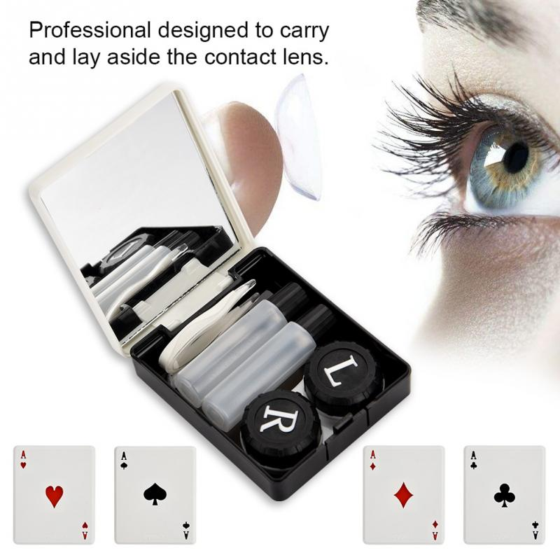 Unisex Contact Lens Box ABS Plastic Reflective Contact Mirror Lens Box Portable Travel Container Holder Storage Makeup Tool