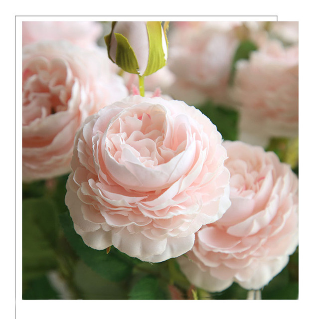 Yo Cho 3 Heads Roses Artificial Flowers White Peony Silk Wedding Decoration For Table Home Garden Fake Peonies Bouquet