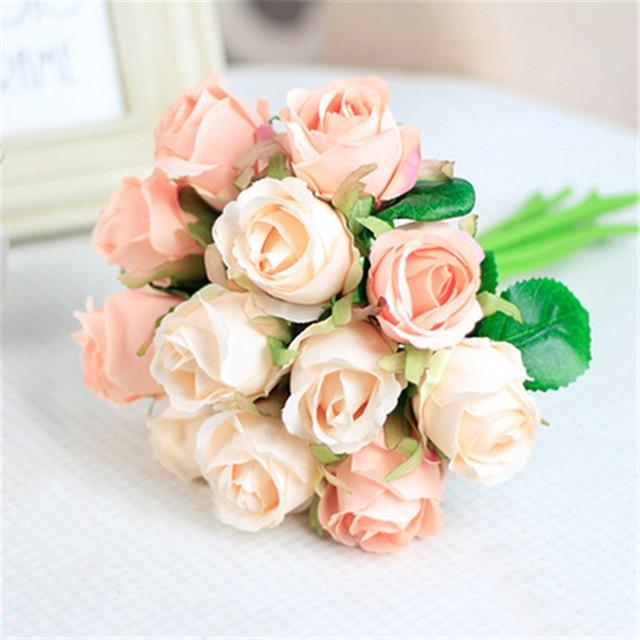 12pcs High Quality Rose Flowers Bouquet Artificial Silk Flower White ...