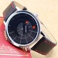 2016 Deportes Para Hombre Relojes de Marca de Moda de Cuero de LA PU Correa Casual Relojes de pulsera de Cuarzo Vestido Tocadiscos Diseño Dial relogio masculino