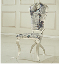 Leather dining restaurant chair flannelette fashionable stainless steel chair