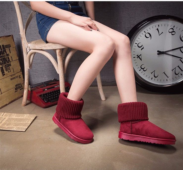 KUYUPP Patchwork Knitting Wool Women Snow Boots Winter Shoes 2016 Flat Heels Warm Plush Ankle Boots Slip On Womens Booties DX119 (13)
