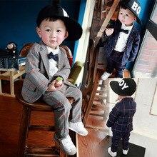 Маленькие мальчики плед костюмы установить хлопка свободного покроя ну вечеринку одежды малыша установить свадебные однобортный тонкий костюмы комплект мальчик дети верхняя одежда 4 т