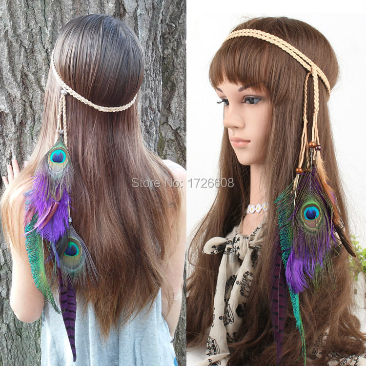 Long Chain Natural Peacock Feather Hair Extension Braided Feather