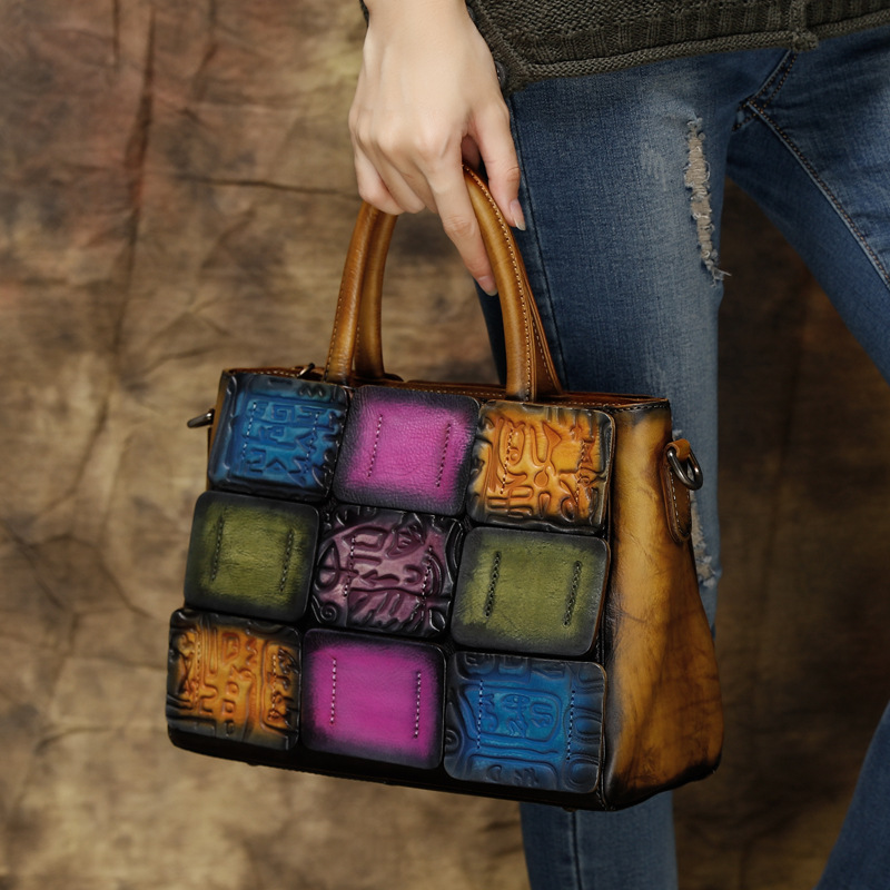 2017new genuine cow leather women handbags shoulder messenger bags vintage panelled patchwork zipper fashion casual tote big bag new 100% handmade woven leather handbags tote women shoulder bags with detachable zipper pouch