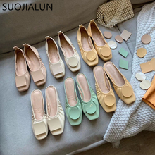 SUOJIALUN 2019 Summer Flats Ballet Shoes Women Slip On Loafers Round Toe Mules Unique Design Ladies Ballerina Soft Zapatos Mujer 2017 summer spring women ballet flats round toe slip on shoes woman flower bowknot loafers vintage zapatos mujer canvas