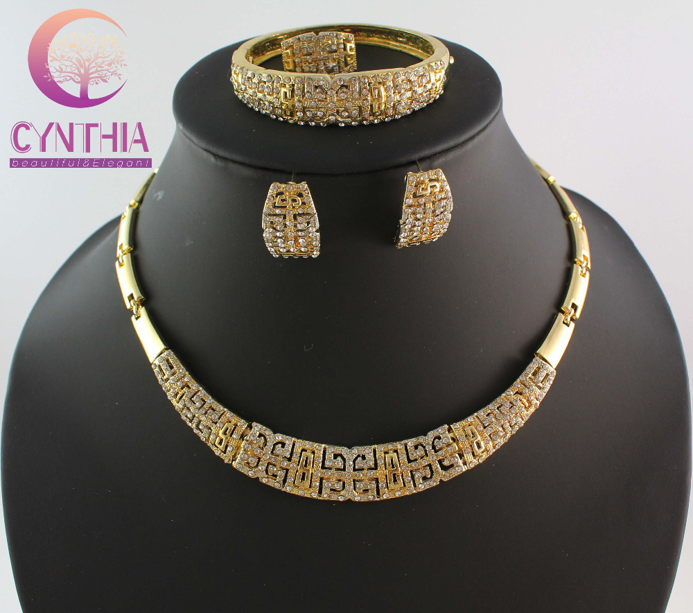 Hesiod Indian Wedding Jewelry Sets Gold Color Full Crystal: Free Shipping Top Quality African Costume Necklace Set