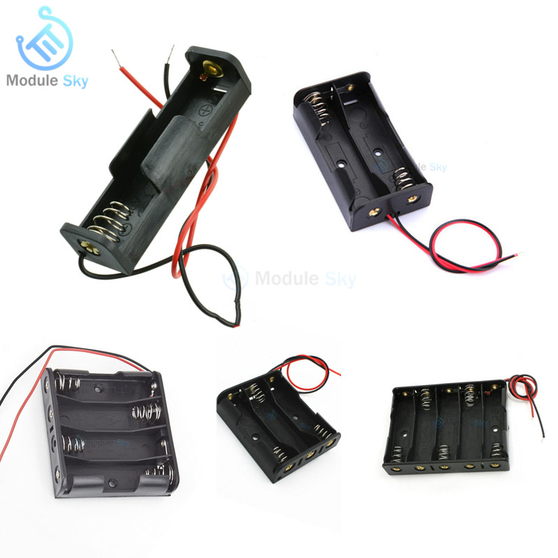 1Pcs Plastic AA Size Power Battery Storage Box Case Holder Leads With 1 2 3 4 5 Slots Battery Holder DIY Batteries Charger Box