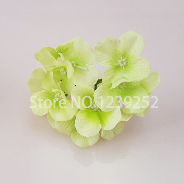 NEW 50 Pcs/Lot  Artificial Hydrangea Silk Flowers Heads Decoration for Wedding Party Banquet Home Decoration Fake Flowers 2