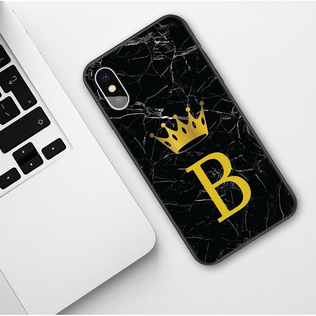 Custom name Letter Monogram Black Marble Gold Crown Soft Phone Case For iphone 5
