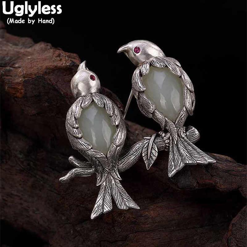 Tidak Jelek Real 925 Perak Kreatif Burung Bros untuk Wanita Thai Perak Pin Dual Batu Permata Jade Liontin Kalung Tidak Ada Rantai