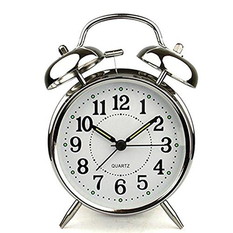 LanLan 4 inch Silent Quartz Analog Twin Bell Alarm Clock with Nightlight and Loud Alarm