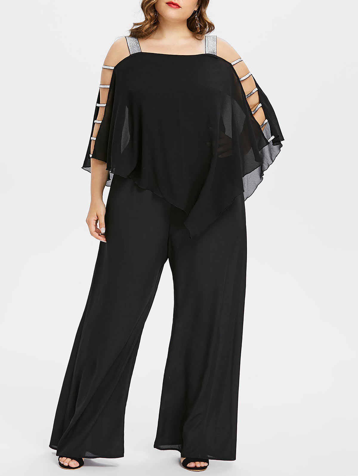 ... Wipalo Plus Size 5XL Ladder Cut Out Overlay Jumpsuit Women Square Neck  Asymmetrical Loose Fitting Fashion ... 7a0b466dd52a