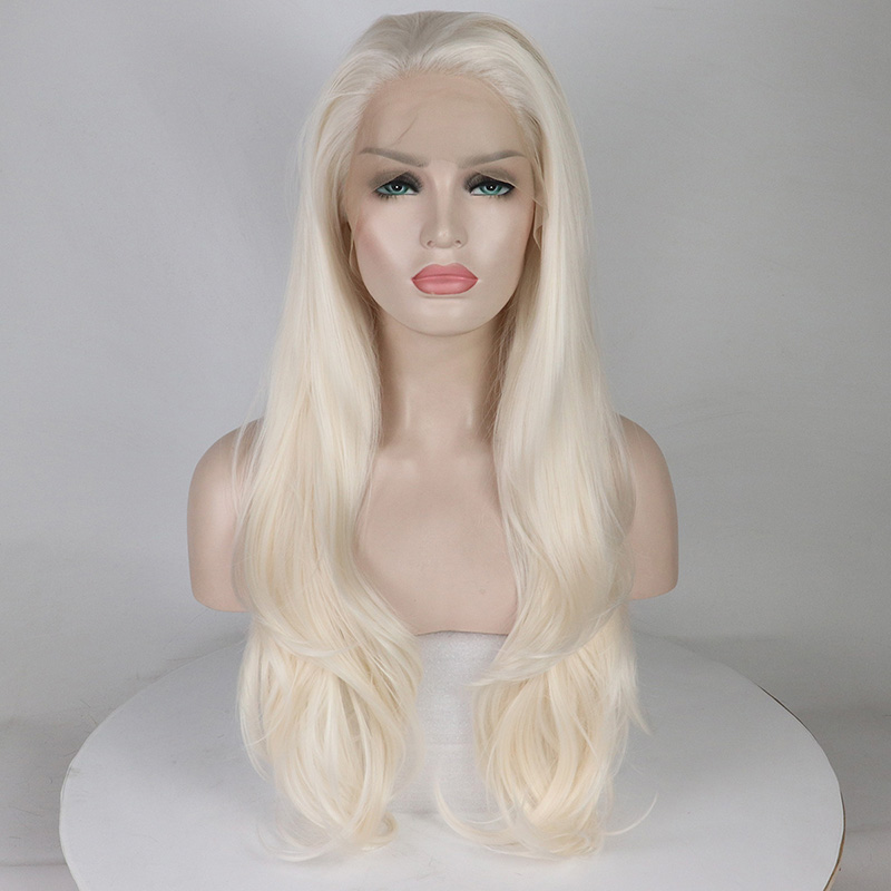 Blonde Synthetic Lace Front Wig Long Wavy Synthetic Wigs for Women Heat Resistant Fiber Hair High Density Glueless Lace Wigs