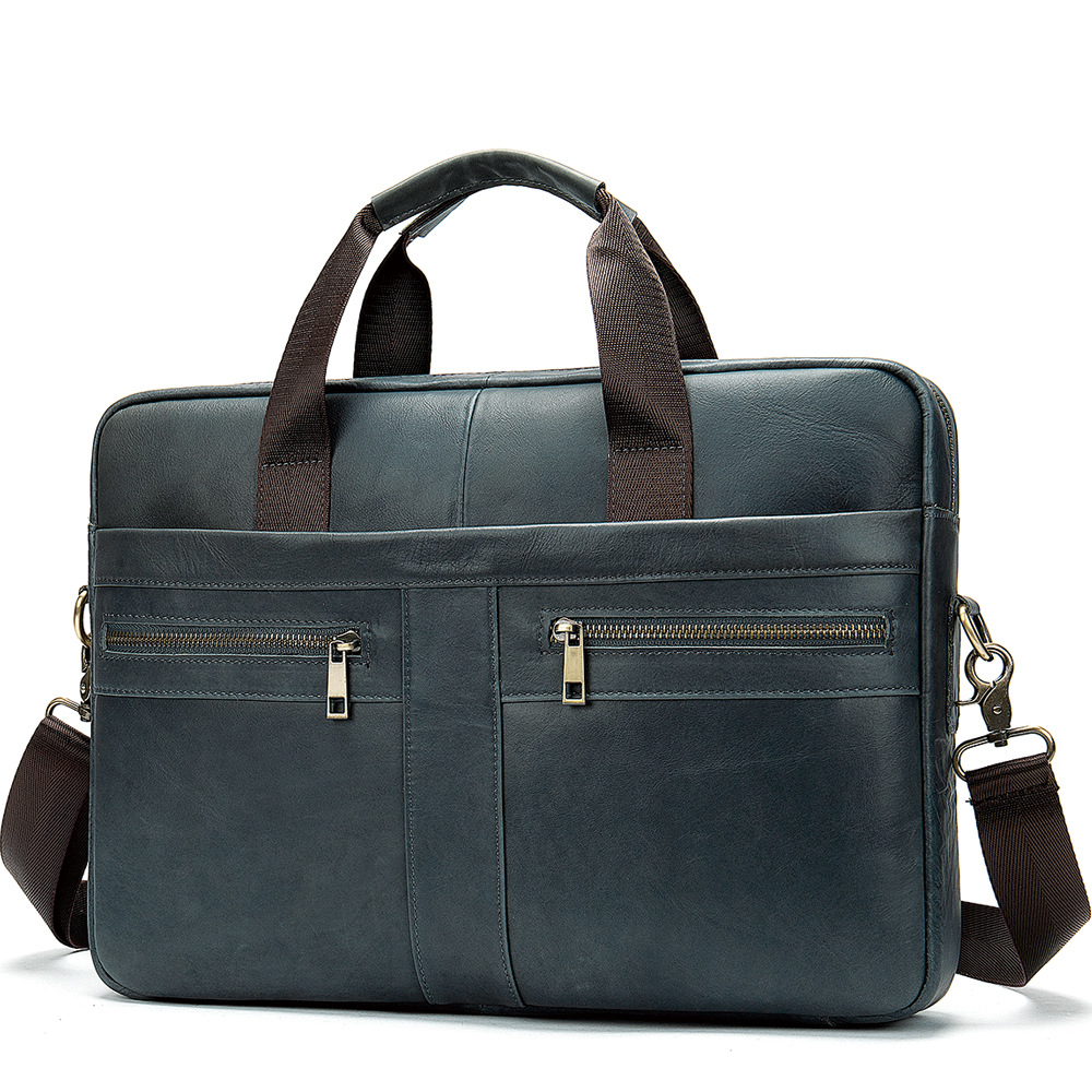 New Natural Cowskin Men's Bag Handbag Briefcase Brand Design Genuine Leather Men's Shoulder Bag Vintage Business Bag Laptop Bags