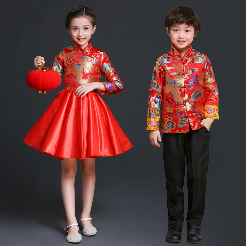 Chinese New Year Costume Traditional Dress Children Girl Guzheng Dance Modern Satin Cheongsam Qipao Robe Chinoise girl