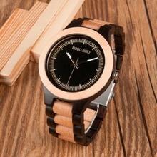 BOBO BIRD relojes antiguos de madera para hombre, con banda de madera, a la moda, Uomo, Orologio, Japón, en caja de regalo